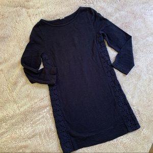 J. Crew Navy Lace Paneled T-shirt Dress Med